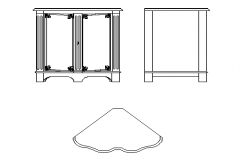 Cabinet top view and front view details dwg file