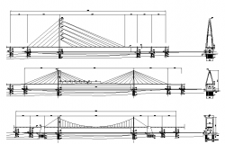 Cable stayed bridges elevation dwg file