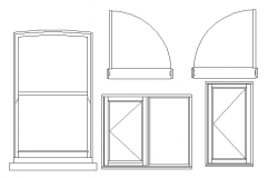 Cad blocks of dynamic windows and doors dwg file