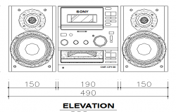 Cadillac Speaker Cad Elevation Design Block dwg file