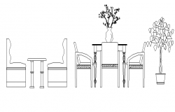 Cafeteria table design of hotel dwg file