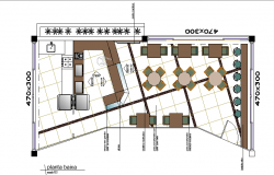 Cafeteria top view layout plan dwg file