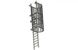 Caged access ladder 3d file