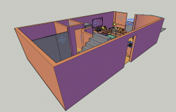 Camera position with its preview for 3d view of interior of house dwg file