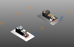 Camera view with view point and view detail in 3d view of house dwg file