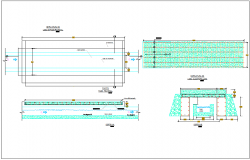 Canal structure detail & elevation plan section view dwg file