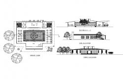Canteen front and side elevation, section and ground floor plan details dwg file