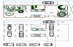 Car Parking and Garden Area of Multi Flooring Housing Flats dwg file