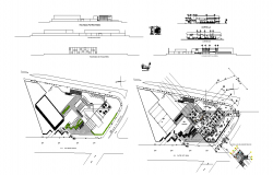 Car agency with its show room plan,elevation and section view dwg file