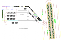 Car parking with layout plan of building dwg file