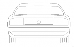 Car rear cad block design view dwg file