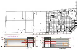 Cars And Bikes Showroom Plan With Two Rendered Elevation AutoCAD File