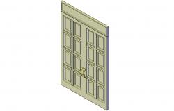 Casement entrance double doors plan detail dwg file.