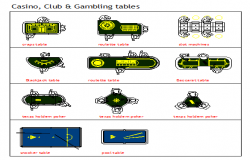Casino, Club & Gambling tables design drawing