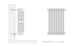 Cast-iron radiator detail elevation 2d view layout file