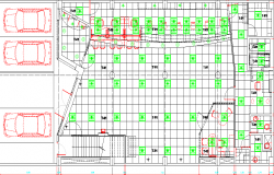 Ceiling and car parking layout in bank dwg file