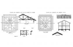 Ceiling and roof construction details of one family house dwg file