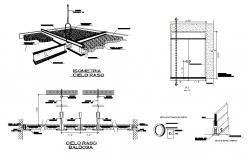 Ceiling isometric view and constructive structure details dwg file