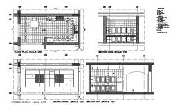 Ceiling layout, floor plan scale, furniture and interior details of kitchen dwg file