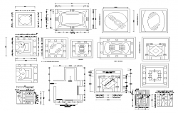 Ceiling plan detail 2d view layout dwg file