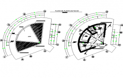 Ceiling plan of florist stand with construction view dwg file