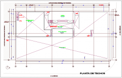 Ceiling plan of office with architectural view dwg file