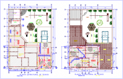 Ceiling plan of structure view of two level housing floor plan dwg file