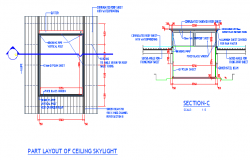 Ceiling sky light part layout architecture project dwg file