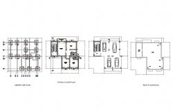Center line, typical floor, parking floor and roof plan details of house dwg file