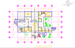 Center line plan in commercial plan detail dwg file