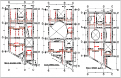 Center line plan in plan and elevation detail dwg file