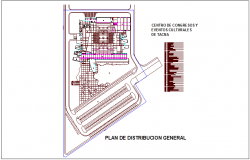 Center of congress and cultural event distribution plan with table dwg file