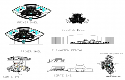 Center of recreational leisure building detail plan, elevation and section layout file