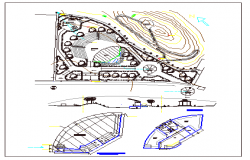 Center theme garden architecture project dwg file