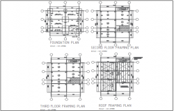 Centre line plan detail in foundation plan detail dwg file
