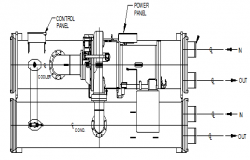 Centrifugal water collar chillers block design drawing