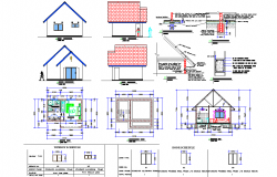 Chalet plan, elevation and section detail dwg file