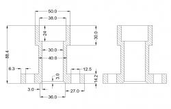 Chamber detail 2d view CAD structural block layout autocad file