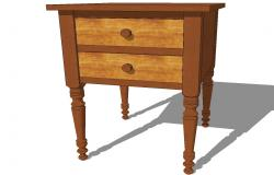 Cherry & Tiger Maple Two Drawer Stand 3d drawing details skp file