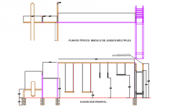 Child swing plan, elevation and section view detail dwg file