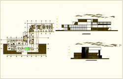 Children hospital plan and elevation view dwg file