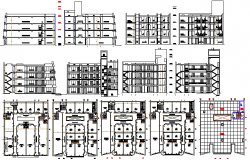 Chimbote shopping mall elevation, sections and floor plan details dwg file