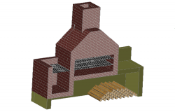Chimney elevation detail dwg file
