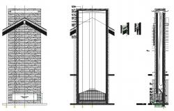 Chimney fire place elevation section and plan details dwg file