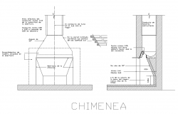 Chimney section and plan details dwg file