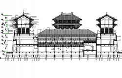 Chinese palace elevation detail dwg file