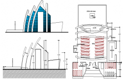 Church Architecture Layout Elevation and Structure Details dwg file
