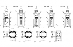 Church elevation and plan dwg file