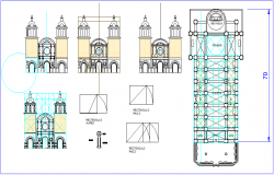 Church elevation design view with column view dwg file