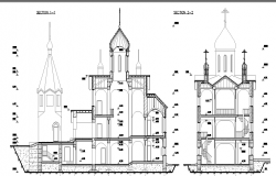 Church front sectional details